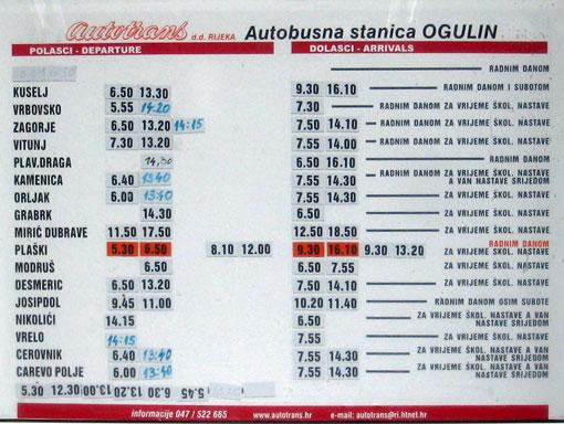 Autobusna stanica Ogulin - vozni red