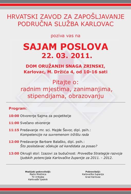 Poziv na četvrti Sajam poslova Karlovačke županije
