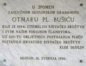 Spomen ploča utemeljitelju Hrvatskog pjevačkog društva