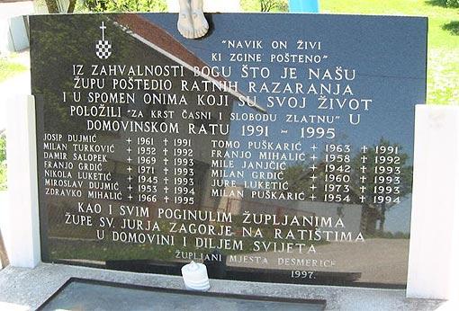 Spomen ploča poginulim župljanima u Domovinskom ratu