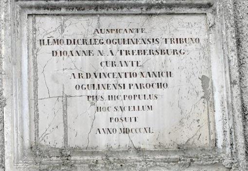 Natpis na Kapeli Sv. Roka